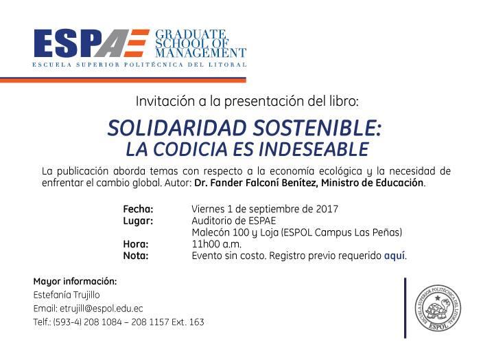 """Presentación del Libro """"Solidaridad Sostenible: La codicia es indeseable"""""""
