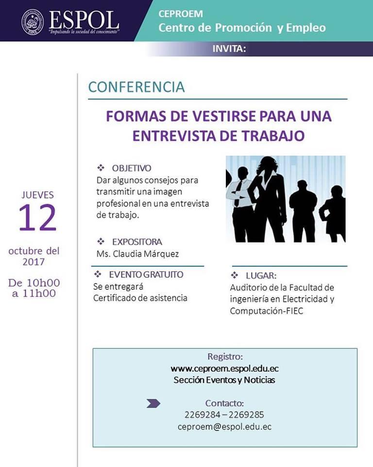 Conferencia: Formas de vestirse para una entrevista de trabajo