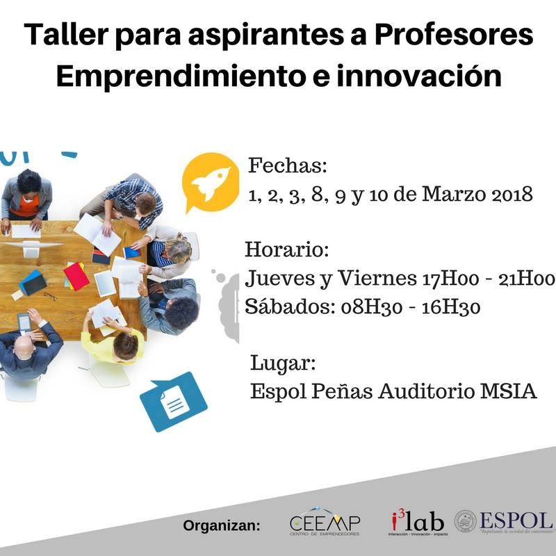 Taller para aspirantes a profesores de Emprendimiento e Innovación