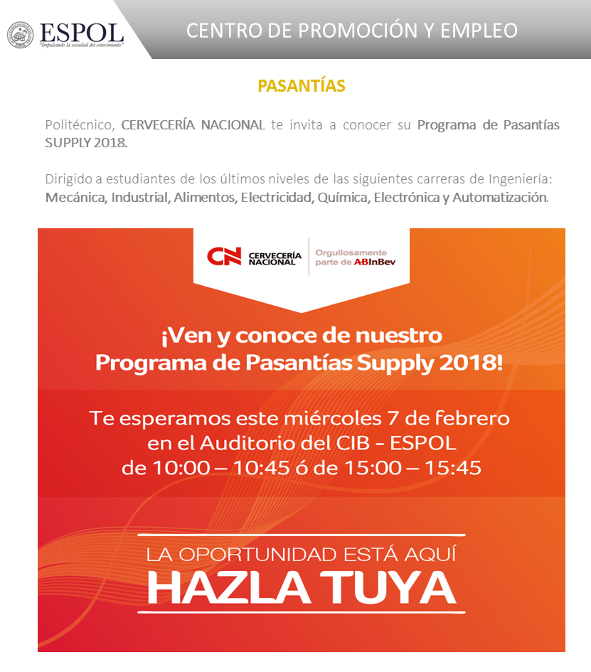 Difusión del Programa de Pasantías SUPPLY 2018