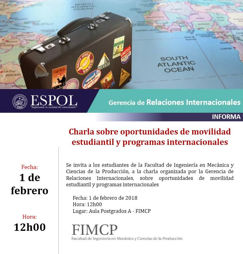 Charla sobre oportunidades de movilidad estudiantil y programas internacionales