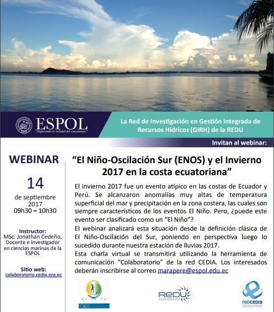 """Webinar """"El Niño Oscilación Sur (ENOS) y el invierno 2017 en la costa ecuatoriana"""""""