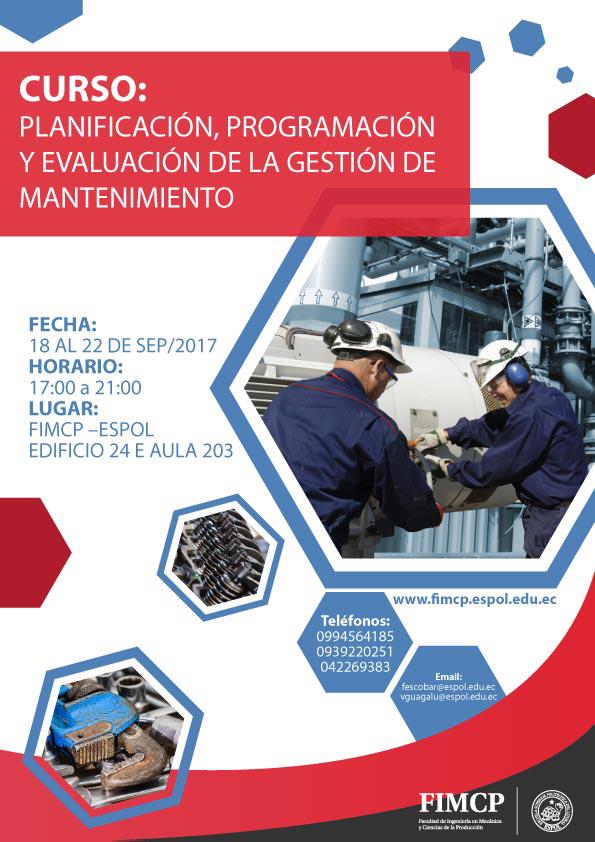 Curso: Planificación, programación y evaluación de la gestión de mantenimiento