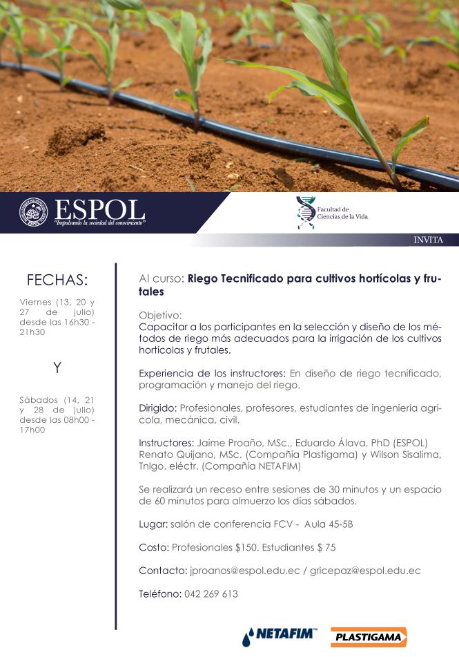 Curso: Riego tecnificado para cultivos hortícolas y frutales