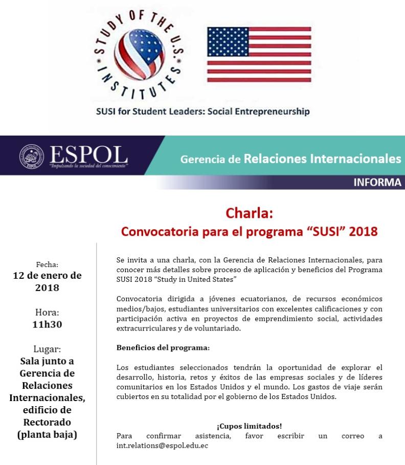 Charla: Convocatoria para el programa 'SUSI 2018'
