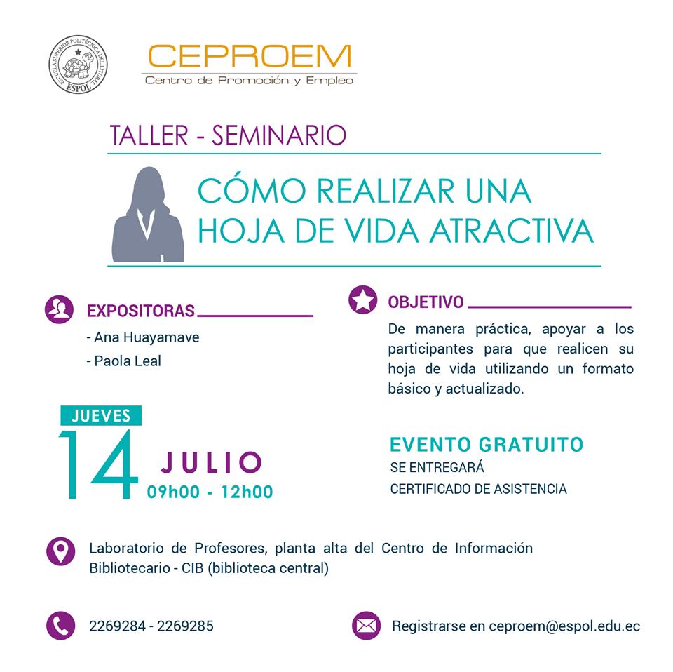 ESPOL - Taller: Cómo realizar una hoja de vida atractiva