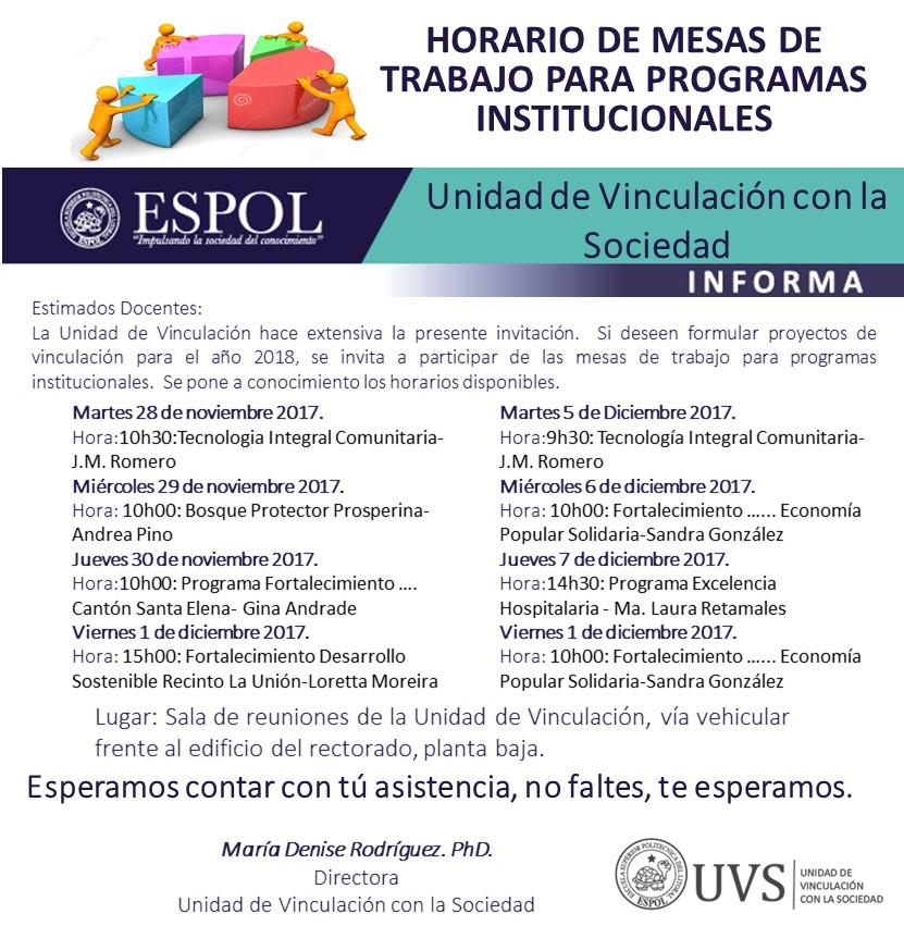 Mesas de trabajos para Programas Institucionales de Vinculación