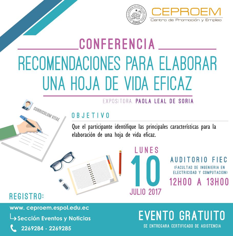 Conferencia: Recomendaciones para elaborar una hoja de vida eficaz