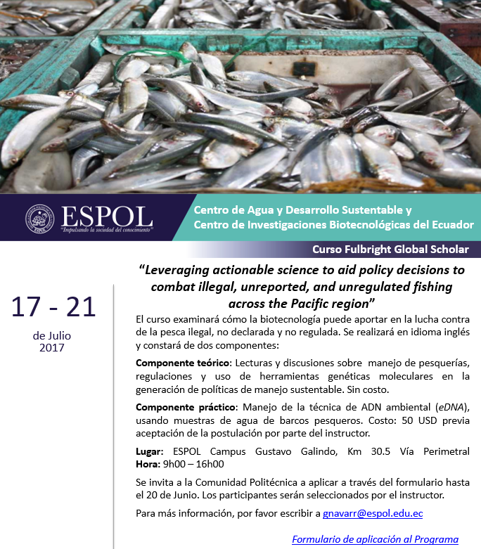 "Curso: ""liveraging actionable science to aid policy decisions to combat illegal, unreported and unregulated fishing across the Pacific Region"""