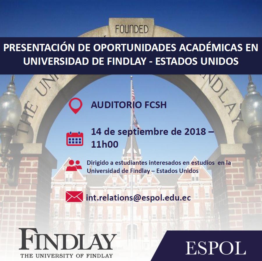 Charla: Oportunidades de estudios en la Universidad de Findlay, en Estado Unidos.