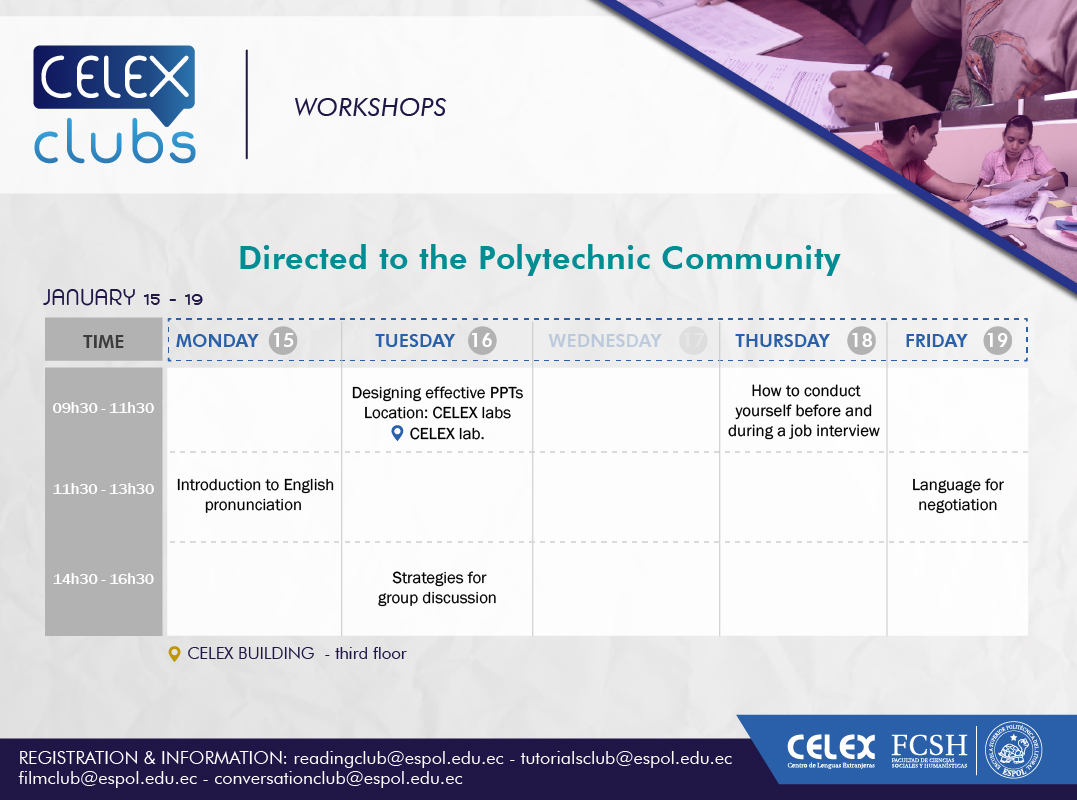 Workshops Celex Clubs